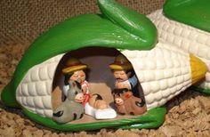 Presépios Internacionais  : Presépio dentro de uma espiga de milho - Peru.