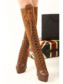 Embellished Suede Knee-High Boots-Tan | High boots, Products and Boots