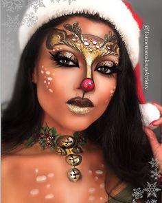 Deer Makeup Ideas For Halloween 2019 Recommended For You - Reh Kostüm Damen Deer Halloween Makeup, Deer Makeup, Face Paint Makeup, Glam Makeup, Pretty Halloween, Women Halloween, Easy Halloween, Halloween Face, Christmas Makeup Look