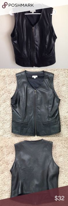 Ann Taylor Leather Vest Ann Taylor Leather Vest with a zipper in the front. 100% leather. My mother wore this once. Good condition!!!!🏍 Ann Taylor Tops