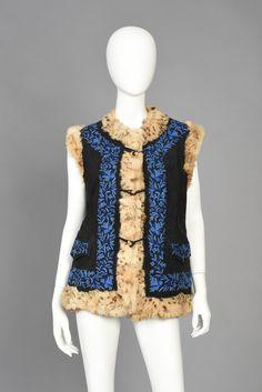 70s Ethnic Embroidered Suede Vest w/Lynx + Fox Fur | BUSTOWN MODERN
