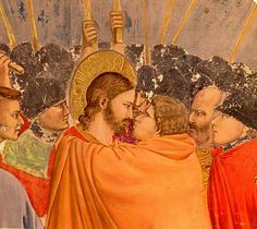 The betrayal of Christ - Giotto Renaissance Artists, Renaissance Paintings, Aesthetic Theory, Faith Of Our Fathers, Bible Illustrations, Blake Griffin, Biblical Art, Famous Books, Christ
