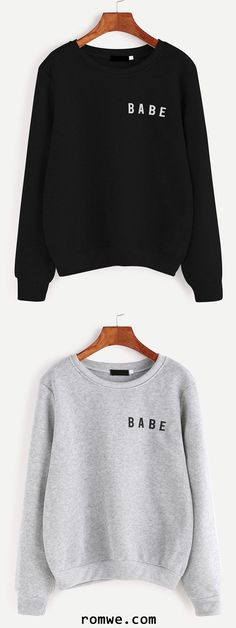 Light Grey & Black Letter Print Sweatshirt