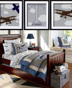 Discover boys room ideas and inspiration at Pottery Barn Kids. Shop our favorite boys bedrooms for furniture, bedding, and more. Big Boy Bedrooms, Kids Bedroom, Bedroom Decor, Boys Airplane Bedroom, Boy Rooms, Bedroom Ideas, Room Boys, Airplane Art, Room Paint Colors