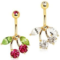 Gold Plated Cherry Belly Button Navel Ring