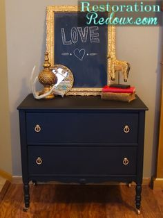 matte black painted dresser using flat black paint   Home and ...