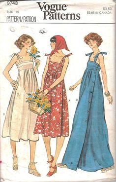 vogue Vintage Vogue 9743 UNCUT Misses Summer Sundress and Maxi Dress with Shoulder Ties Sewing Pattern Sizes 8 Bust Vogue Dress Patterns, Vintage Vogue Patterns, Vogue Sewing Patterns, Clothing Patterns, Vintage Outfits, Vintage Dresses, Vintage Fashion, Fashion Goth, Steampunk Fashion
