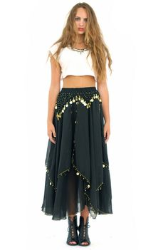 Hippie maxi with gold coin detail, midriff tee, chunky silver statement piece and lace up sandals. Sexy boho style.
