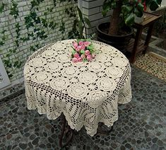 With Red And Green Plaid Tablecloth Beige Vintage Handmade Crocheted Round Tablecloth