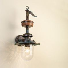Lustrarte Lighting Nautic Pirates 1 Light Wall Sconce Finish: Antique Brass Mat, Shade Color: Crackle