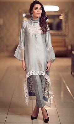 Grey . Stylish Dresses, Simple Dresses, Casual Dresses, Fashion Dresses, Pakistani Outfits, Indian Outfits, Dress Brokat, Hippy Chic, Vintage Dress Patterns