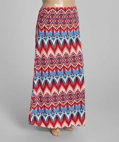 Another great find on #zulily! Red Arabesque Fold-Over Maxi Skirt - Plus #zulilyfinds