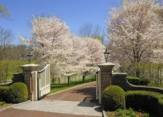 HGTV features a traditional gated driveway with black lanterns on brick columns and driveway landscaping. Driveway Entrance Landscaping, Brick Driveway, Tree Lined Driveway, Driveway Design, Home Landscaping, Fence Design, Garden Design, Porches, Entrance Gates