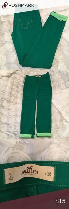 Gorgeous Hollister Pants!💚 Green skinny pants, in great condition. Neon cuffed bottoms. Hollister Pants Skinny