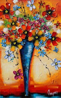 Ces fleurs qui nous parlent - Galerie Perreault  #Art #fleurs #Artwork #artist #Artpainting #Quebec #Canada #québec #painting #Peinture #flowers Artwork, Canada, Symbols, Painting, Artist, Midnight Blue, Flowers, Paint, Work Of Art