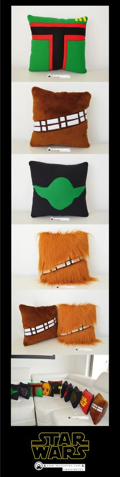 #mostreCojines Cojines #StarWars  Boba Fett  Chewbacca  Yoda