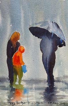 Figures in the rain by Poppy Balser Watercolor ~  x
