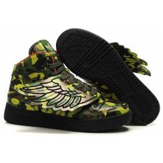 Adidas Originals Jeremy Scott Women Shoes In Army Green (75 AUD) ❤ liked on Polyvore featuring shoes, sneakers, army green shoes, olive green shoes and olive shoes
