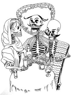 Free coloring page «coloring-tatouage-skeletons». 3 skeletons (Mexican?) Drinking an aperitif, a funny tattoo ... and coloring page !