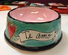 Ceramic Dog Bowl handpainted by craftychica on Etsy, $29.99