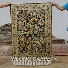Yilong 2.7'x4' Hereke silk carpet feather vantage exquisite Turkish hand knotted silk rug (0510)