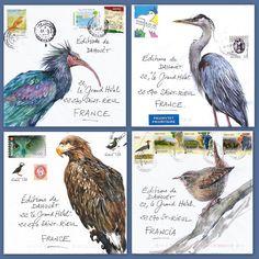 Derniers courriers peints , réexpédiés par de bonnes âmes depuis différents pays . Ici , des migrations depuis le Maroc, la Pologne , la Norvège , l ' Italie , Jersey , Hong-Kong , Andorre et la Belgique .  Le Blog de Yal