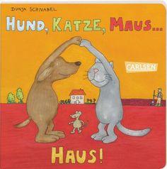 Hund, Katze und Maus sind hier unterwegs und erleben allerlei. Die Kleinen können hier stundenlang schauen und staunen und nebenbei noch kreativ werden. Hund, Katze, Maus – und dann? Einmal umgeblättert entdeckt man ein Haus. Haus, Garten, Mauer – was kommt als nächstes? Weiterblättern, nachschauen und klar, der Bauer. Rätseln, reimen und freuen – langweilig wird es mit diesem Buch garantiert nicht. Dunja Schnabel, Hund, Katze, Maus… Haus! Carlsen Verlag. Ab 2.