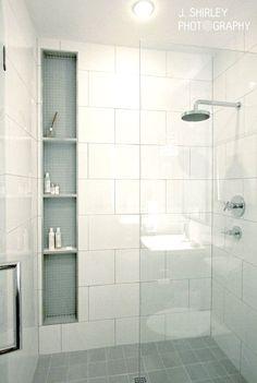New bathroom modern white shower niche ideas White Shower, White Bathroom, Modern Bathroom, Small Bathroom, Bathroom Showers, Remodled Bathrooms, Master Bathroom, Master Shower, Bathroom Storage