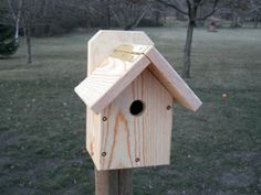 Functional outdoor birdhouse. Birdhouse for the nuthatch, black-capped chickadee, and house ren. $12.00