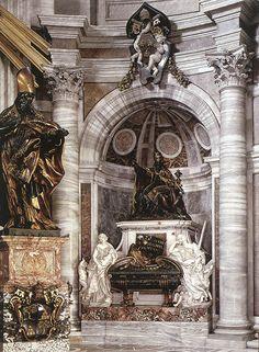 Tumba del Papa Urbano VIII, 1627-1647, (Barroco Italiano), Escultura funeraria en mármol y bronce, Basílica de San Pedro del Vaticano, Roma (Italia); abajo, detalle
