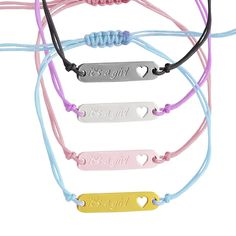 SN14- Ασημένιο βραχιόλι μακραμέ με πλακέτα it's a girl Headphones, Personalized Items, Detail, Shopping, Ear Phones