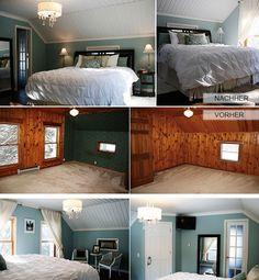 schlafzimmer-renovieren_holzverkleidung-in-weiß-streichen-und-mit-wandfarbe-hellblau-kombinieren.jpg (530×573)