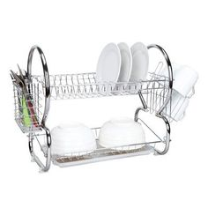 Home Basics 2 Tier Dish Drainer Finish: Chrome