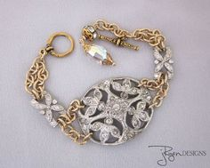 One of a Kind, Vintage Assemblage Silver and Gold Mixed Metal Rhinestone Bracelet #jryendesigns #oneofakind #mixedmetal…