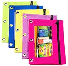 School Supplies for Kindergarten: What Your Kid Really Needs! (2020) - lw vogue Kindergarten School Supplies, 3 Ring Binders, Saving Ideas, Pencil Pouch, Bright Green, Classroom Organization, Pink Purple, Blue, Yellow