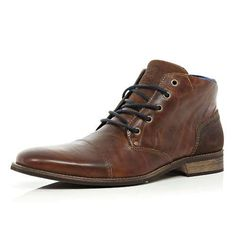 Brown lace up chukka boots by River Island