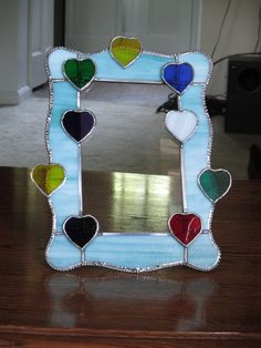 Stained Glass Heart Picture Frame with Light Blue Spectrum glass and Multi-colored Hearts