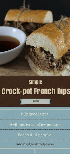 These 5 Ingredient Crock-pot French Dips are so delicious and easy to make for anytime of the year. We love, love, love our crock-pot and use it at least twice Best Slow Cooker, Crock Pot Slow Cooker, Crock Pot Cooking, Slow Cooker Recipes, Crockpot Recipes, Cooking Recipes, Frugal Recipes, Cooking Tips, Easy Dinner Recipes
