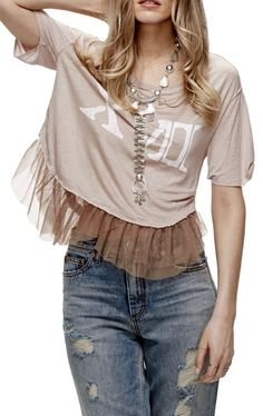 NWT Free People mauve pink Graphic 2017 Destroyed Ruffle Tulle Hem Top L #FreePeople #graphictee