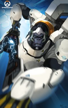 My top two favorite PlayStation racing games. Overwatch Drawings, Overwatch Fan Art, Video Game Art, Video Games, Overwatch Winston, Overwatch Wallpapers, Fantasy Heroes, Heroes Of The Storm, Starcraft