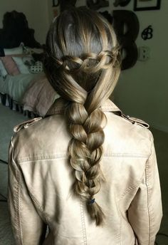 The Loop Waterfall Braid but with a braid at the end.  Love the way this variation looks!  Tutorial here..   #Cutegirlshairstyles #hairstyles #waterfallbraid #braid #hairstyle