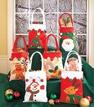 Set of 6 Embellished Holiday Treat Bags