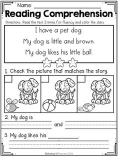 FREE Read and Match Reading Comprehension For Beginning Readers Set 2 Reading Comprehension Worksheets, Reading Fluency, Reading Passages, Kindergarten Reading, Reading Strategies, Kindergarten Worksheets, Guided Reading, Teaching Reading, Reading Activities