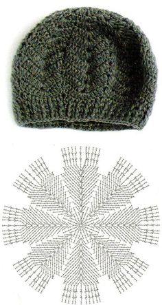 La boina invernal de ocho cuñas, el esquema, la labor de punto por el gancho