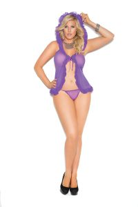 Purple Mesh BabyDoll with G-String