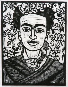Linocut of Frida Kahlo
