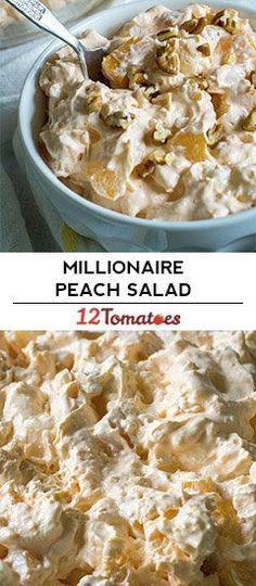 Millionaire Peach Salad – a priceless take on ambrosia. Millionaire Peach Salad – a priceless take on ambrosia. Fluff Desserts, Jello Recipes, Dessert Salads, Fruit Salad Recipes, Köstliche Desserts, Delicious Desserts, Dessert Recipes, Yummy Food, Jello Salads