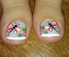 Más                                                                                                                                                                                 Más Pedicure Designs, Pedicure Nail Art, Toe Nail Designs, Nail Polish Designs, Toe Nail Color, Toe Nail Art, Pretty Toe Nails, Cute Nails, Spring Nails