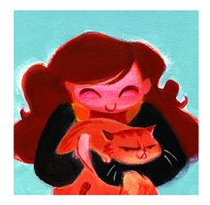 Harry Potter illustrations by Casey Robin  Hermione & Crookshanks