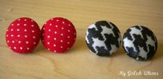 DIY Button : DIY Fabric Covered Button Earrings